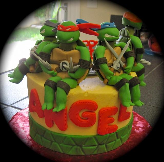 Awe Inspiring Ninja Turtle Birthday Cake Stacy Flickr Funny Birthday Cards Online Inifofree Goldxyz