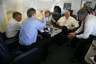 Vice President Cheney Talks with David Addington, Lea Anne McBride, John Hannah and Joe Wood Aboard Air Force Two En Route to Dubrovnik, Croatia
