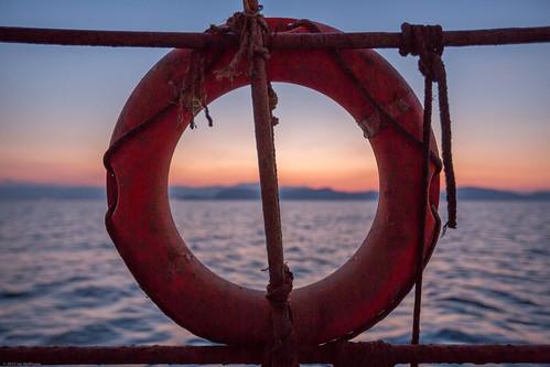 morning sea sunrise boat greece boating gr lifesaver kiveri