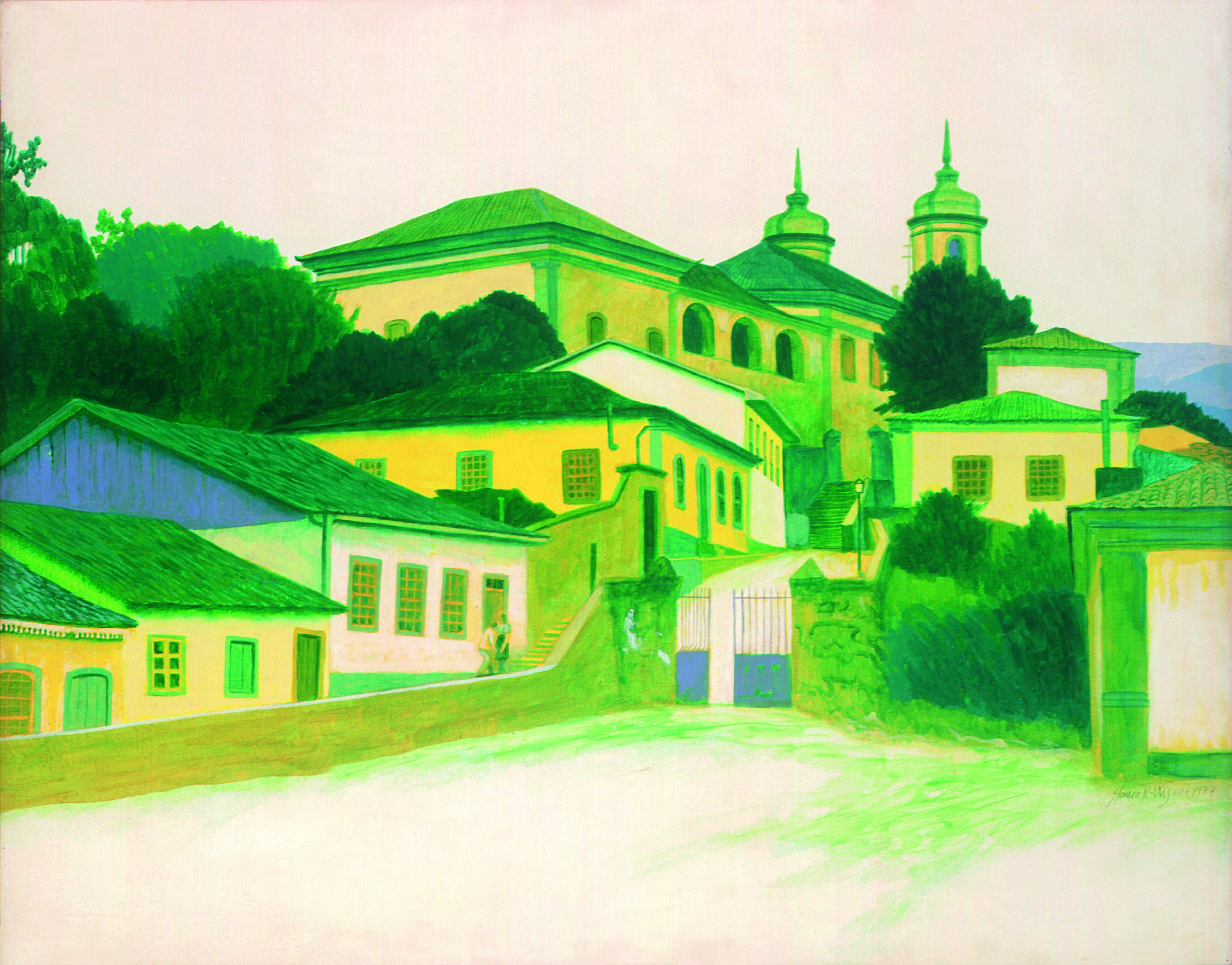 Ouro Preto  Autor: Glauco Rodrigues Ano: 1977 Técnica: óleo sobre eucatex Dimensão: 78 cm x 96 cm