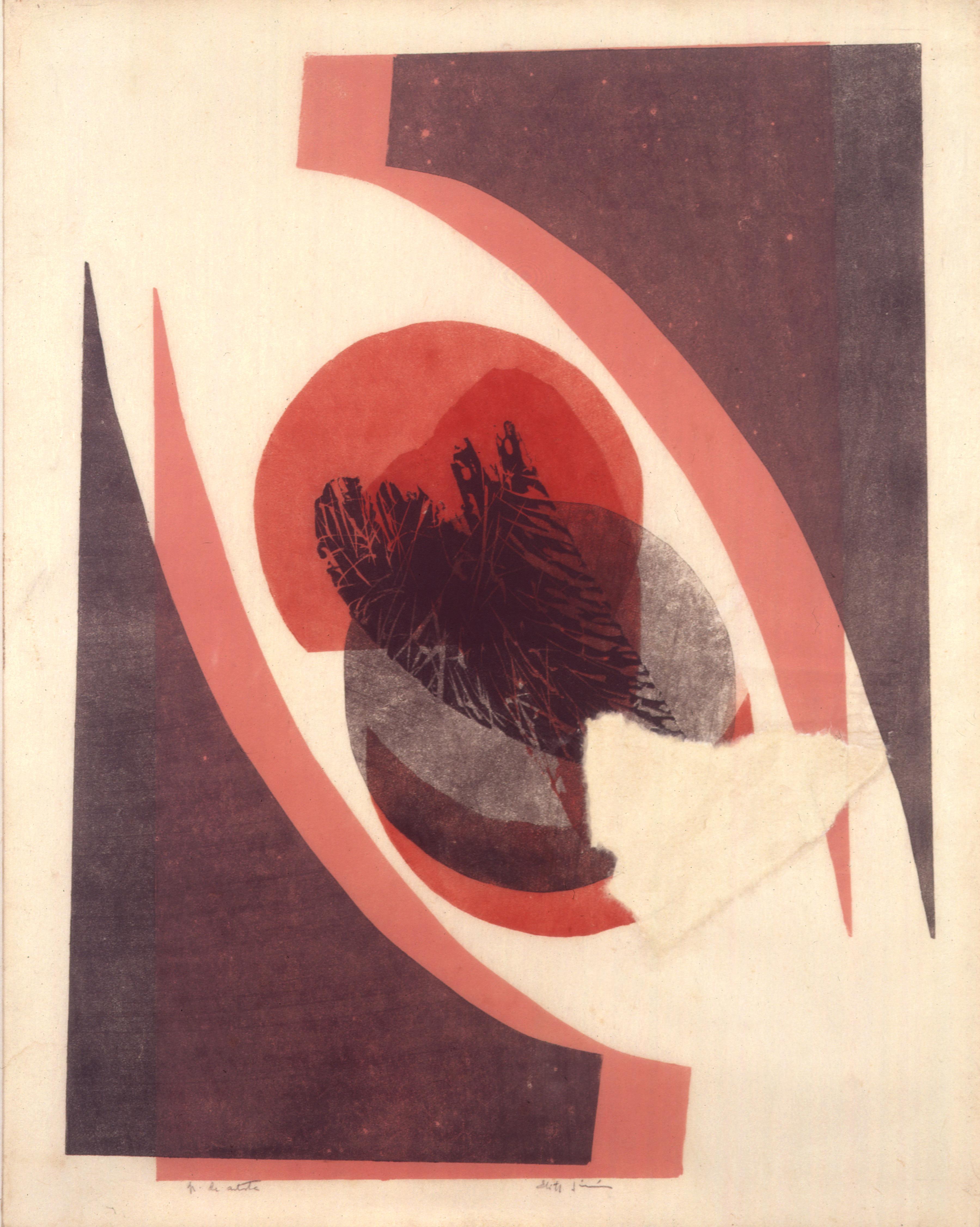 Folha Autor: Edith Jiménez  ANO: 1984  Técnica: Calcografia. Água-forte e Água-tinta e relevo  Dimensões: 55cm x 44cm