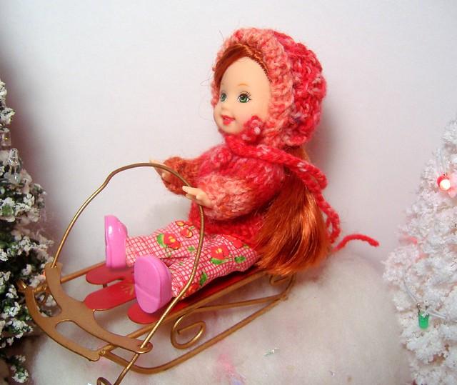 Kelly in 'antique rose' sweater & bonnet #3