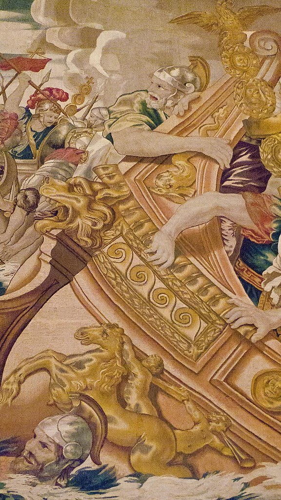 Detail of Tapestry depicting the Sea Battle between Consta