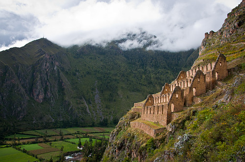 Inca Storehouses over Ollantaytambo   by Kenneth Moore Photography