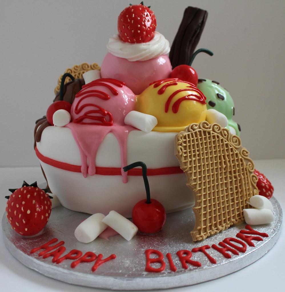 Superb Icecream Birthday Cake Pauls Creative Cakes Flickr Funny Birthday Cards Online Ioscodamsfinfo
