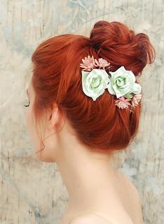 Mint roses-vintage millinery clip set   by Bellafaye Garden