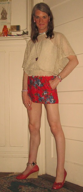 Red miniskirt and espadrilles