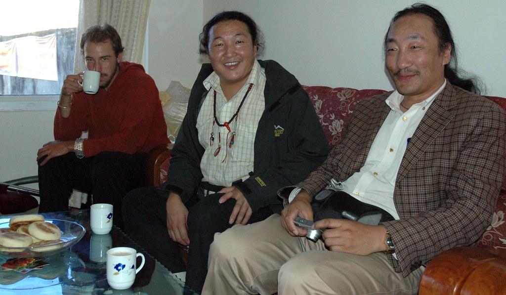 Tashi Deleg! left to right, Ben Fash, a western photograph