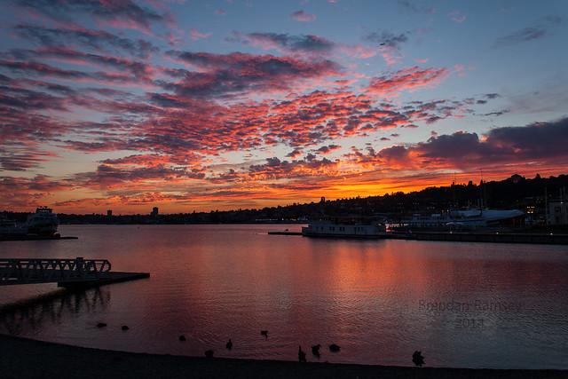 Sunrise from Southlake Union park.