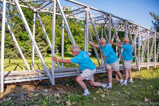Bjarne Holding Up The Bridge,, Hagan Park, Rancho Cordova CA (C65_2101-2103-LR-PS-NS-TL)