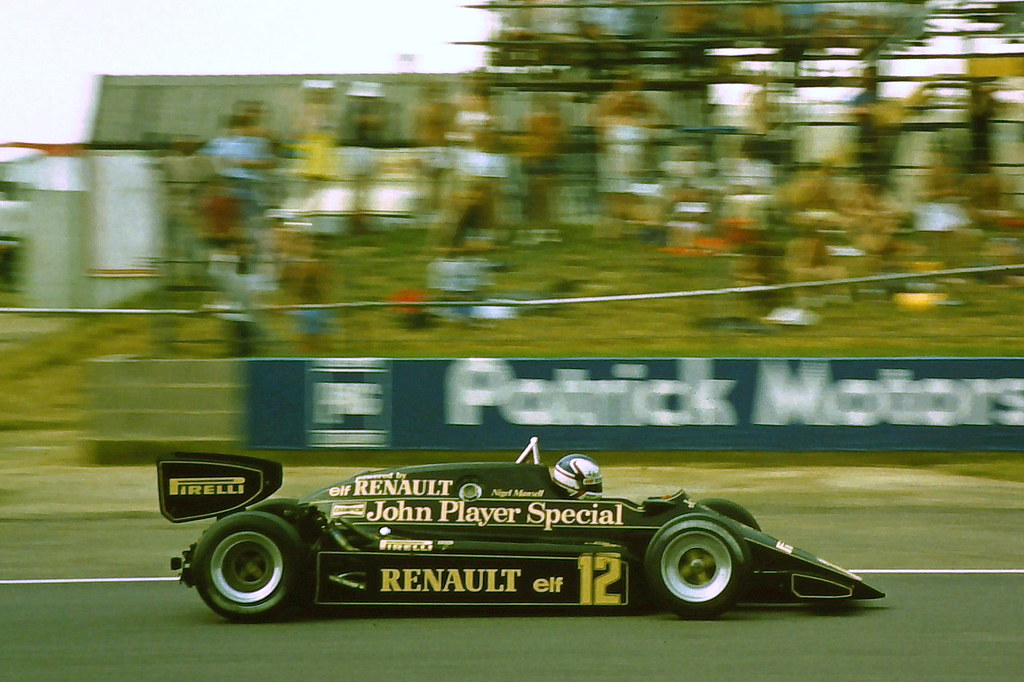 Nigel Mansell - Lotus 94T during practice for the 1983 British Grand Prix, Silverstone