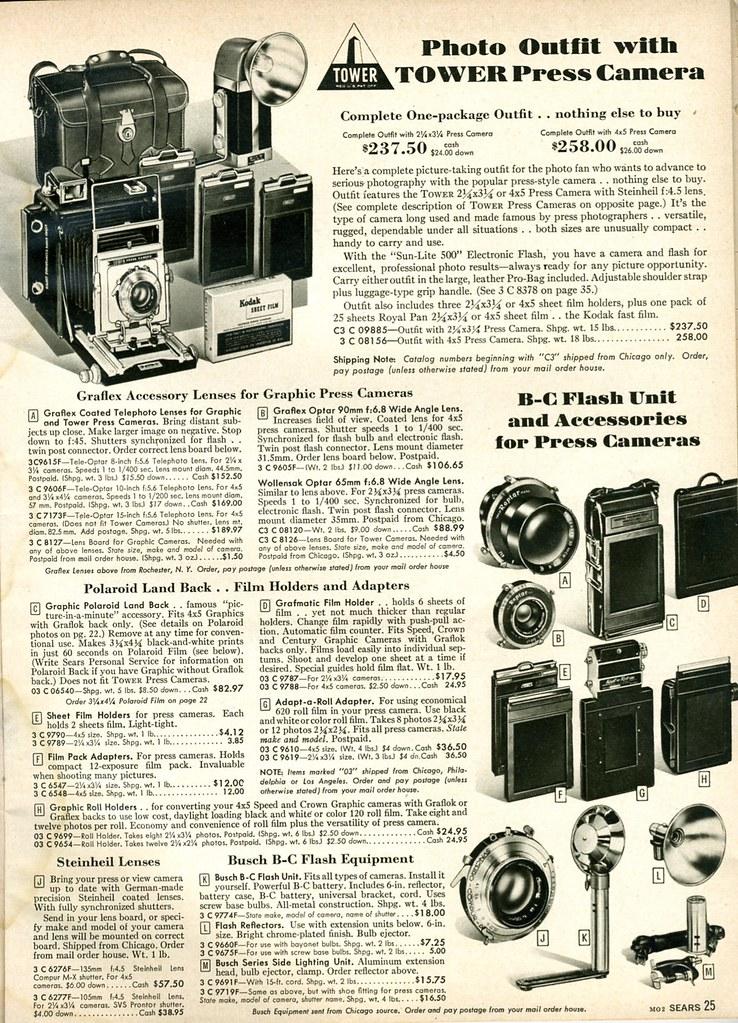 1958 Sears: Tower Press Camera Outfit, Gralflex Accessories, Polaroid Backs