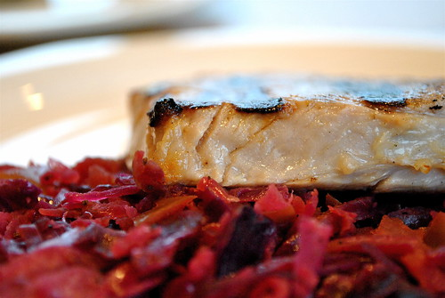 Buttermilk-Brined Pork Chops with Whiskey-Braised Cabbage and Apples | by cookbookman17