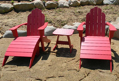 Seaside Classic Red Adirondacks Beach Scene