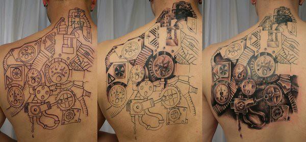 Beautiful Biomechanical Gear Wheel Tattoos Designs On Back Flickr