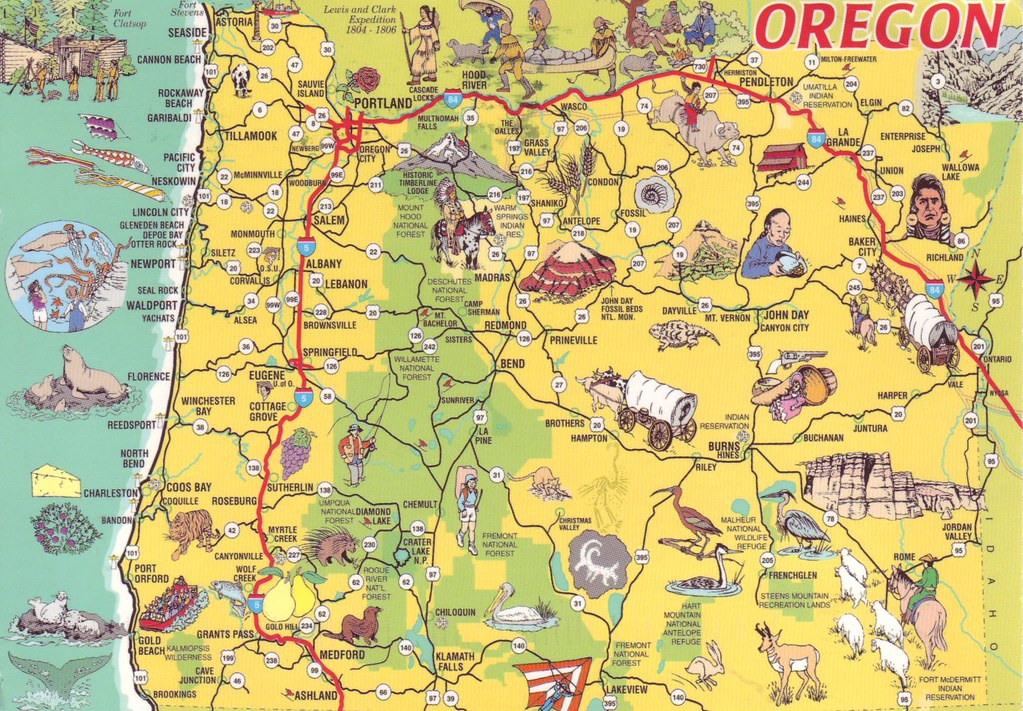 Oregon Map, USA | sent by Sheri Saperstein in May 2015 | tg250607 ...