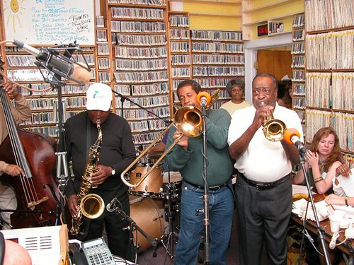 James Rivers, Freddie Lonzo, Dave Bartholomew at 'OZ fund drive, Spring 2004. Photo by Black Mold.