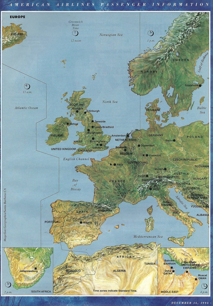 American Europe cities map, 1995 | The American Airlines Eur ...