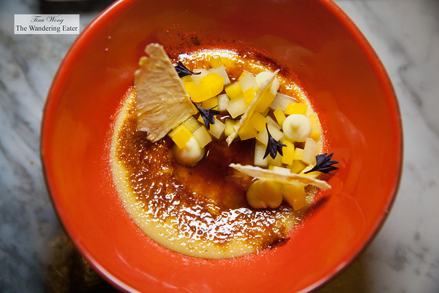 Coconut creme brulee, passion fruit cream, mango compote, coconut milk jam