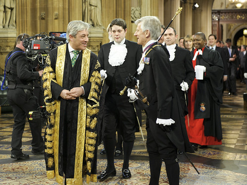 Black Rod escorts Mr Speaker,  MPs and Commons Officials Back to Central Lobby following Queen's Speech | by UK Parliament