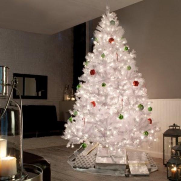 Árbol de Navidad blanco iluminado