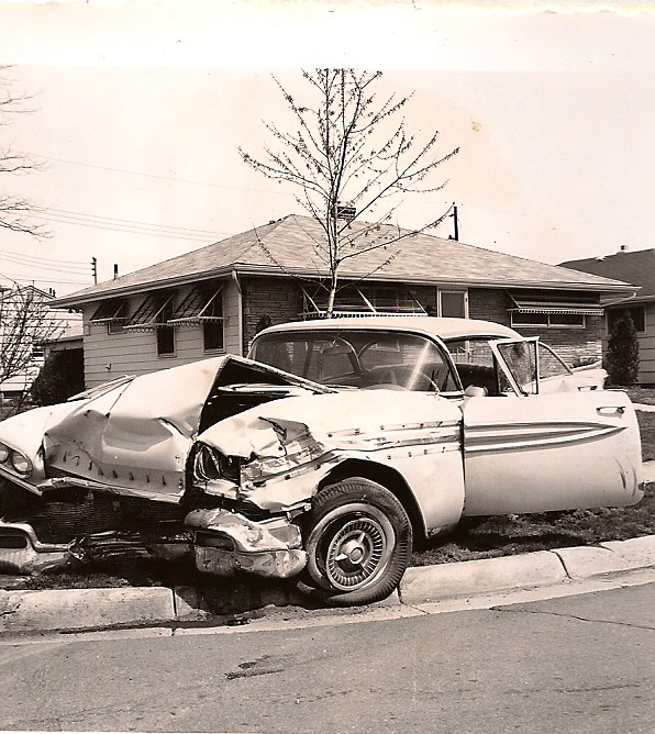 Auto Accident at Eastmoor and Mound April 1960 | Car on N E