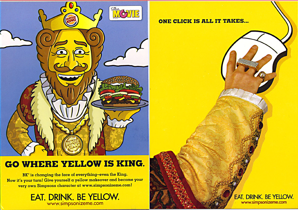Burger King The Simpsons Movie Go Where Yellow Is King Table Tent 2007 A Photo On Flickriver