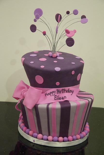 BC4116 - purple topsy turvy cake