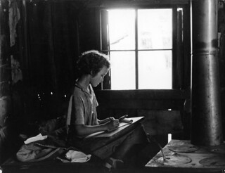 Lucille Kimbrell found a quiet place to practice writing   by Kheel Center, Cornell University Library