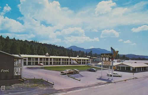 arizona vintage route66 inn williams postcard bestwestern thunderbird aaa streetview highway89
