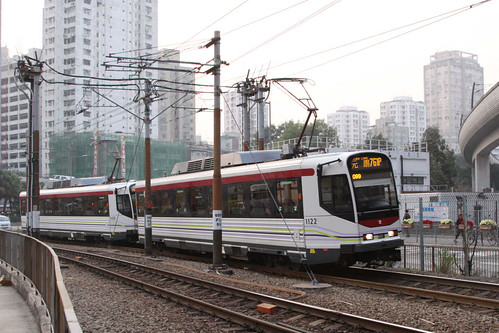 Phase 4 LRVs 1122 and classmate arrive at Yuen Long station on route 761P
