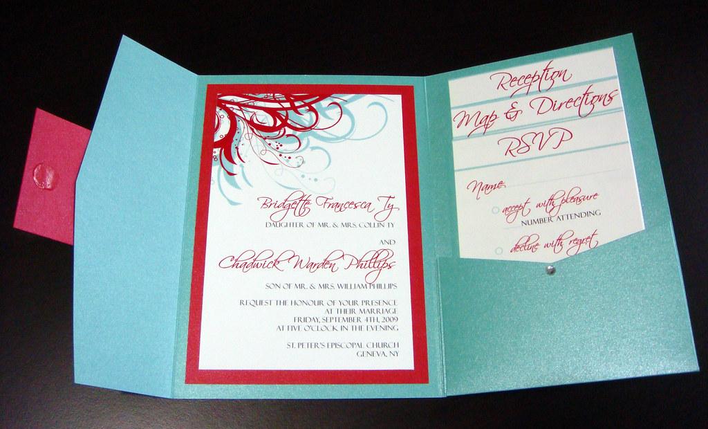 Aqua Tiffany Blue And Red Wedding Invitations