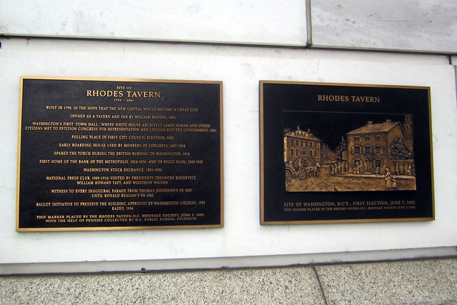 Washington DC: Site of Rhodes Tavern