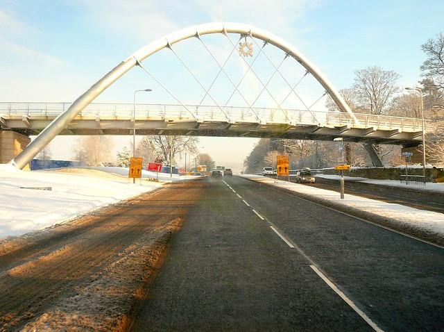 Edinburgh: Snow covered RBS Bridge