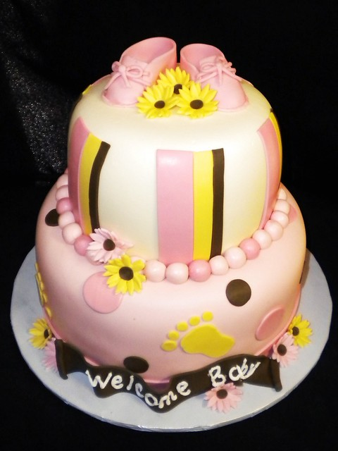 baby booties shower cake