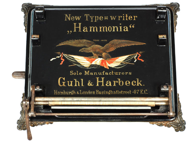 Hammonia typewriter - 1884, www.antiquetypewriters.com