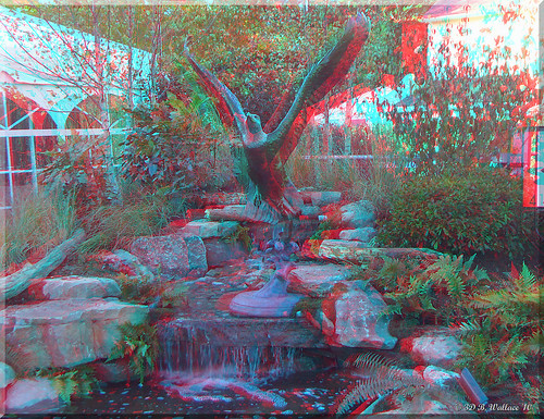 sculpture art pool waterfall stereoscopic 3d md landscaping brian maryland anaglyph stereo wallace easton stereoscopy stereographic rocs brianwallace stereoimage stereopicture