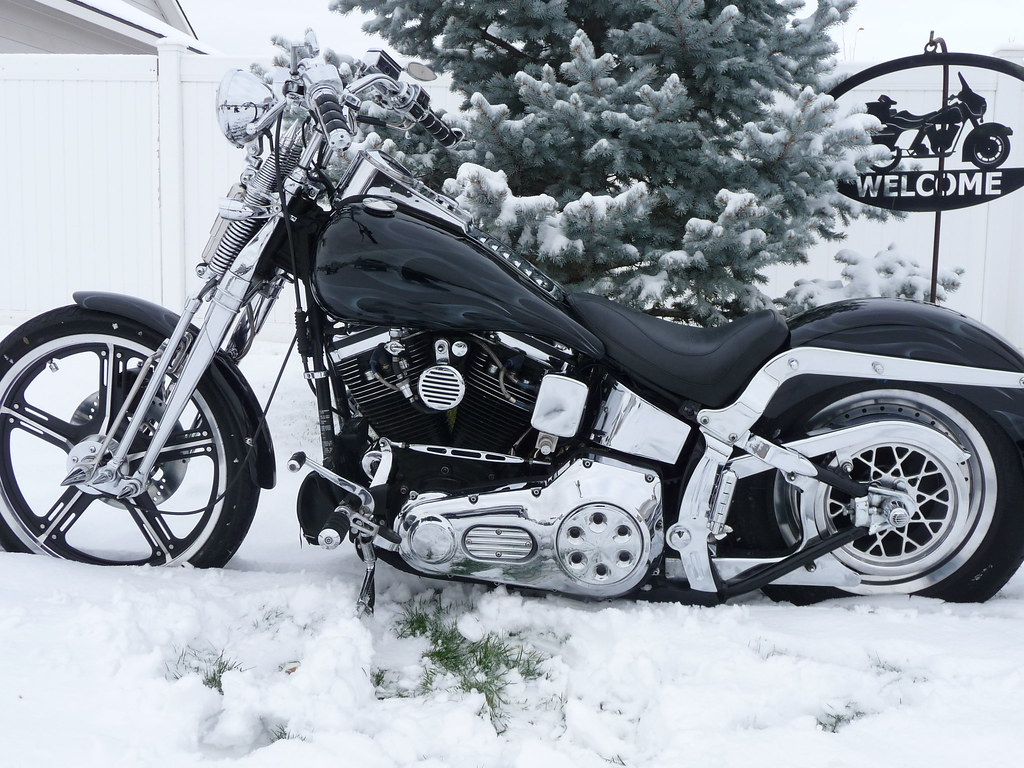 92 Harley Softail Springer FXSTS With New Paint And Fresh Snow