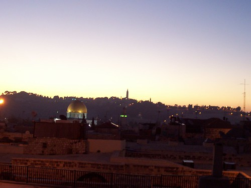 sky rock sunrise israel twilight jerusalem roofs mount holy dome olives land oldcity