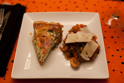 Ricotta, Prosciutto and Spinach Tart, Braised Escarole with White Beans, Mushrooms, Tomato and Pecorino   by phy5ics