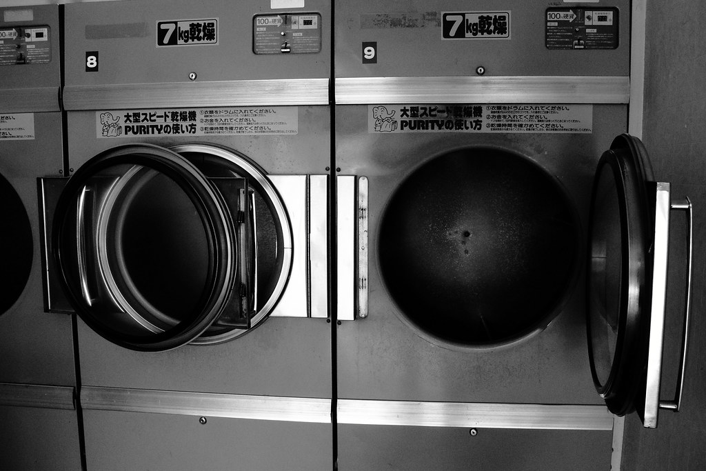 Coin washing machine.
