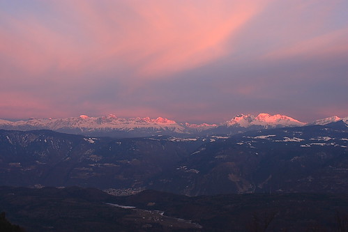 pink sunset dolomites dolomiti rosengarten latemar mendola