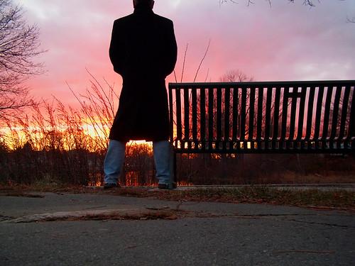 gay sunset portrait sky selfportrait man silhouette river bench project365 davidsullivan davidnewengland