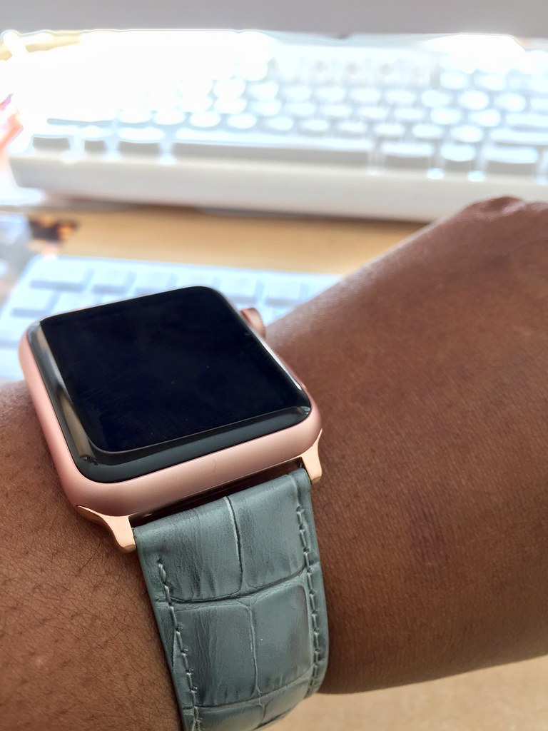 42mm Rose Gold Apple Watch W Grey Croc Band Cecily Walker Flickr