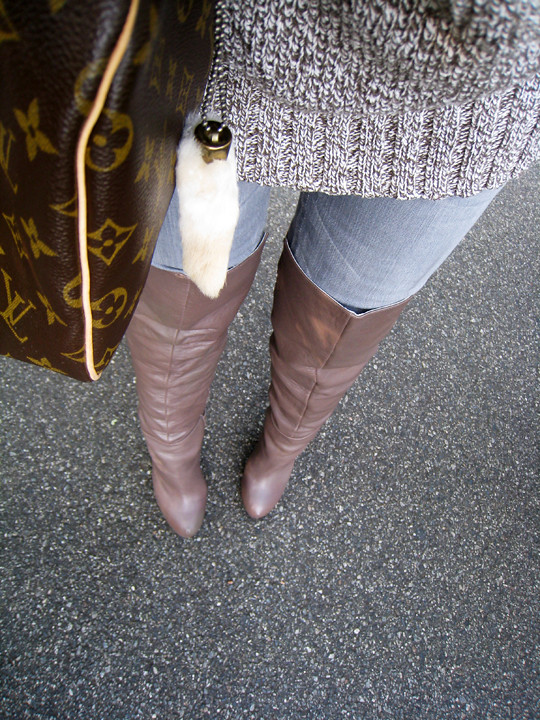 4182c78647c taupe over the knee boots+gray jeans+chunky knit sweater+l…