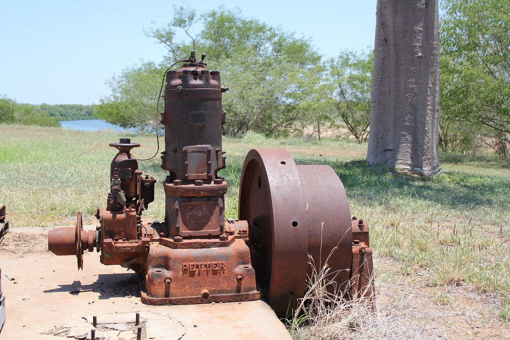 The 36HP Petters Engine as it was at Kimberley Research Station on the bank of the Ord - Now at entrance to the Kununurra Museum