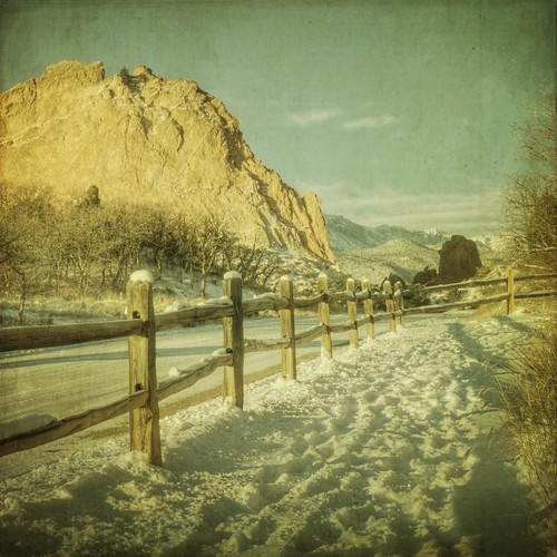 road morning winter snow mountains clouds canon vintage fence square colorado footprints coloradosprings co textured newyearsday railfence cathedralspires gardenofthegodspark texturesquared t1i applessistersresources