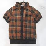 1228025(-仿丝印格子短袖上衣 2 4 6 橙色-浅黄色-蓝色 胸96 长56