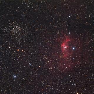 Bubble nebula and M52 by Peter Shah