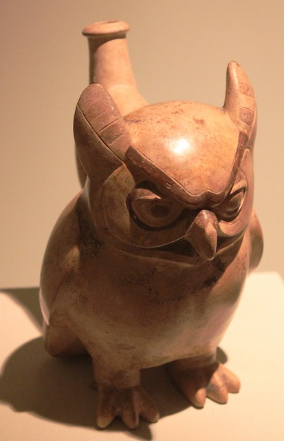 Moche bottle representing owl